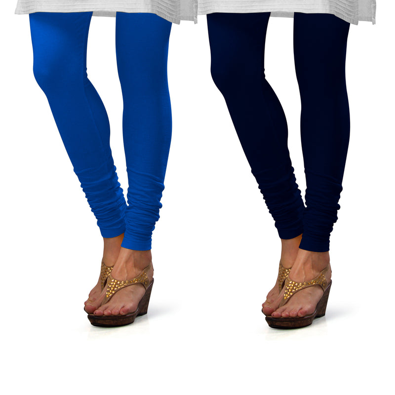 Sirtex Eazy Cotton Lycra Churidar Leggings (Pack of 2) : T Blue & Navy Blue