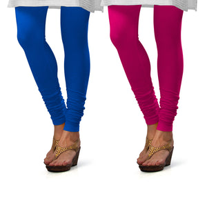 Sirtex Eazy Cotton Lycra Churidar Leggings (Pack of 2) : T Blue & Rani
