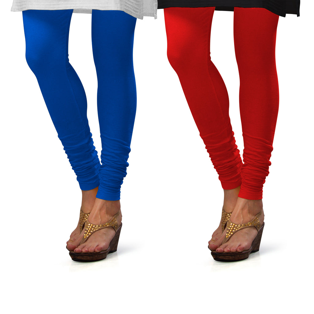 Sirtex Eazy Cotton Lycra Churidar Leggings (Pack of 2) : T Blue & Red