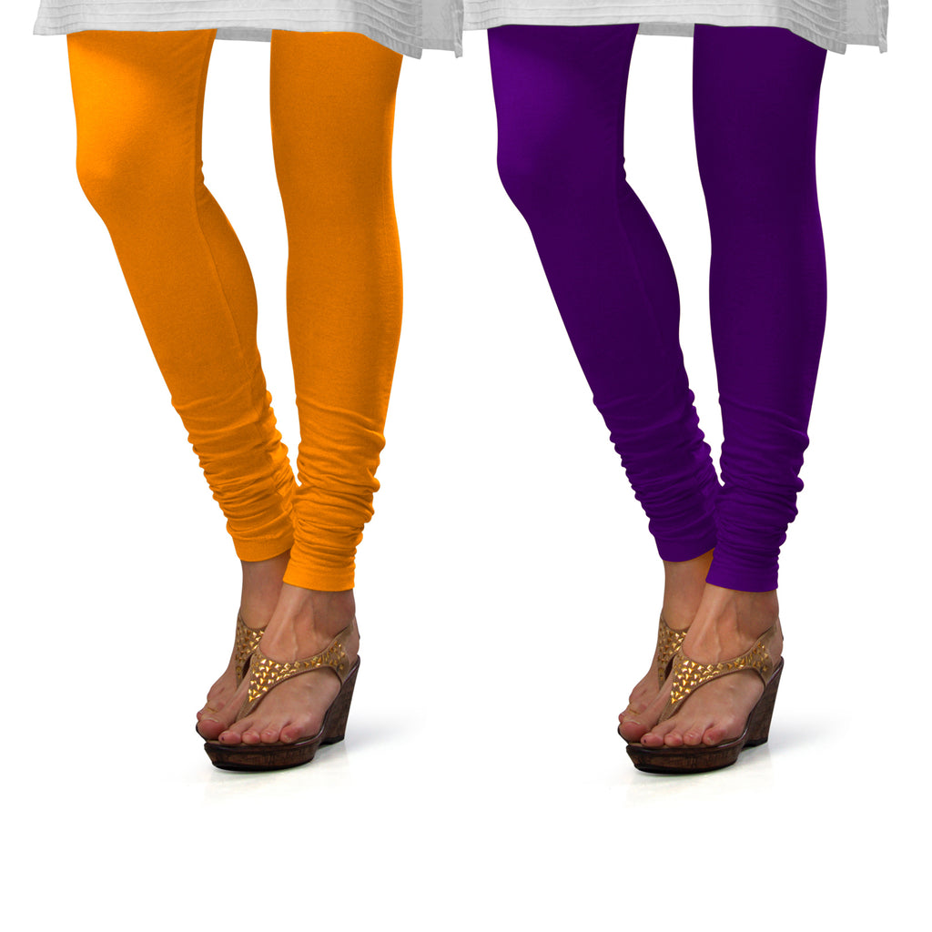 Sirtex Eazy Cotton Lycra Churidar Leggings (Pack of 2) : Turmeric & Brinjal