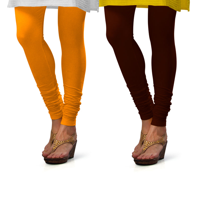 Sirtex Eazy Cotton Lycra Churidar Leggings (Pack of 2) : Turmeric & M Brown