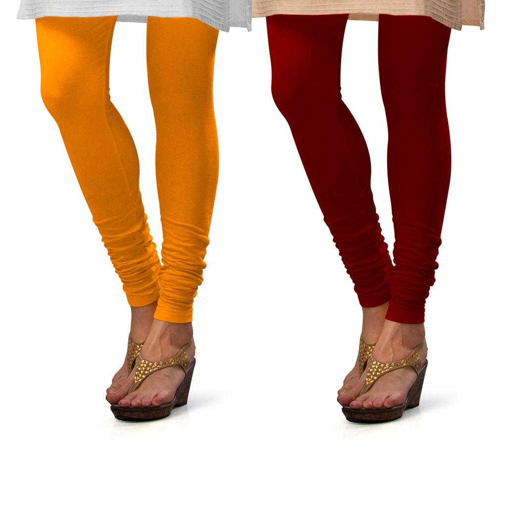 Sirtex Eazy Cotton Lycra Churidar Leggings (Pack of 2) : Turmeric & Maroon
