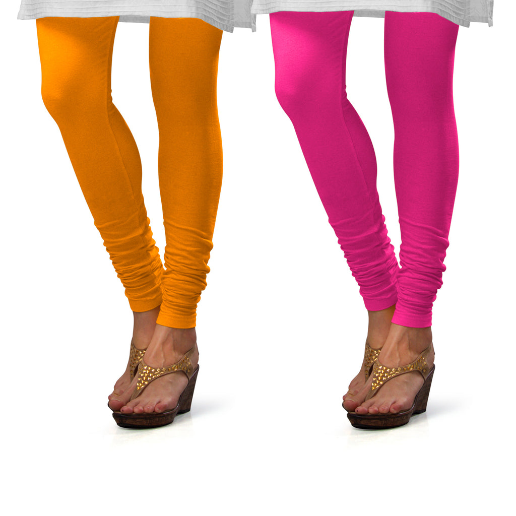 Sirtex Eazy Cotton Lycra Churidar Leggings (Pack of 2) : Turmeric & Rani