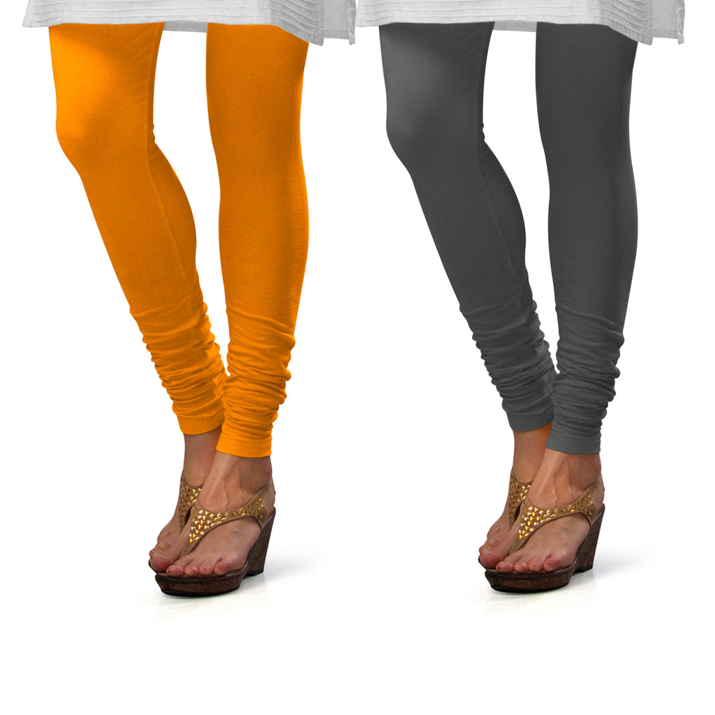 Sirtex Eazy Cotton Lycra Churidar Leggings (Pack of 2) : Turmeric & Steel Grey