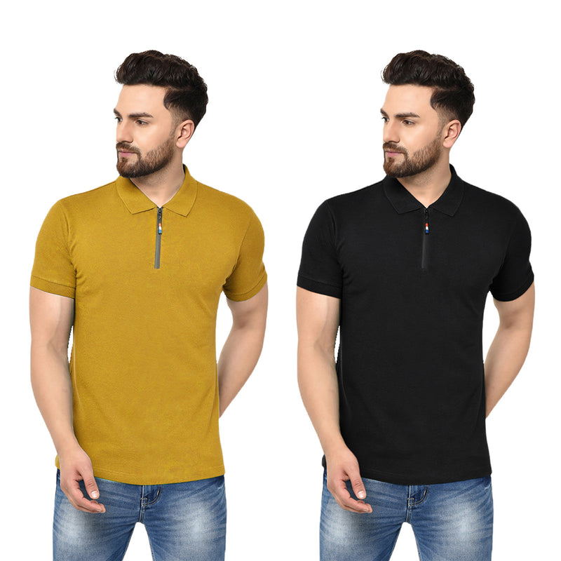 Eazy Men's Zipper Polo T-shirt ( Pack of 2) - Vibrant Mustard & Caviar Black
