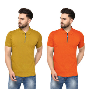 Eazy Men's Zipper Polo T-shirt ( Pack of 2) - Vibrant Mustard & Papaya Orange