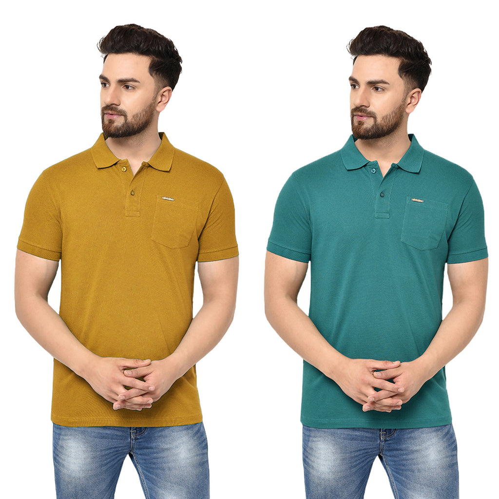 Eazy Men's Pocket Polo T-shirt ( Pack of 2) - Vibrant Mustard & Pepper Green