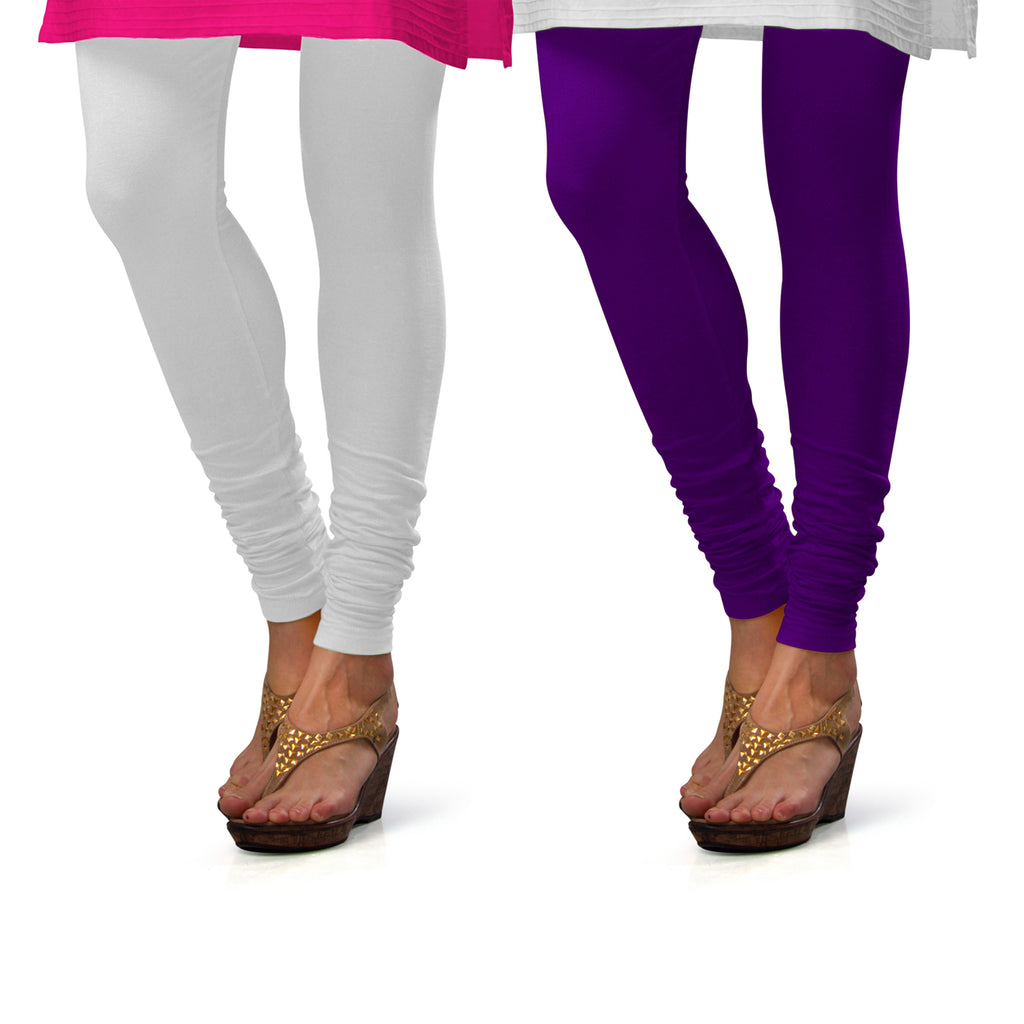 Sirtex Eazy Cotton Lycra Churidar Leggings (Pack of 2) : White & Brinjal
