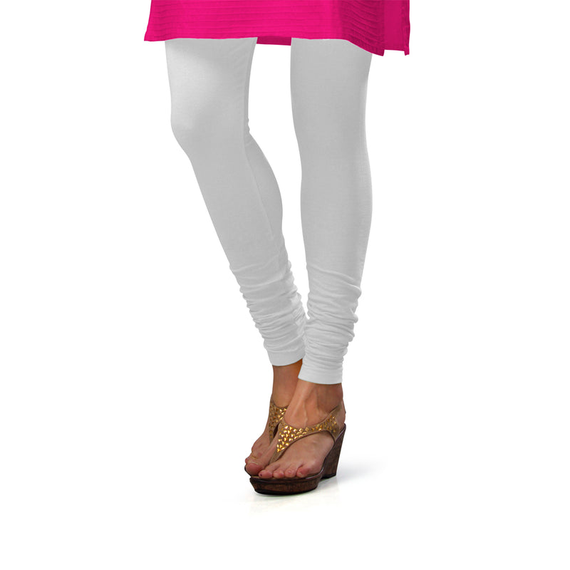 Sirtex Eazy White Cotton Lycra Churidar Leggings