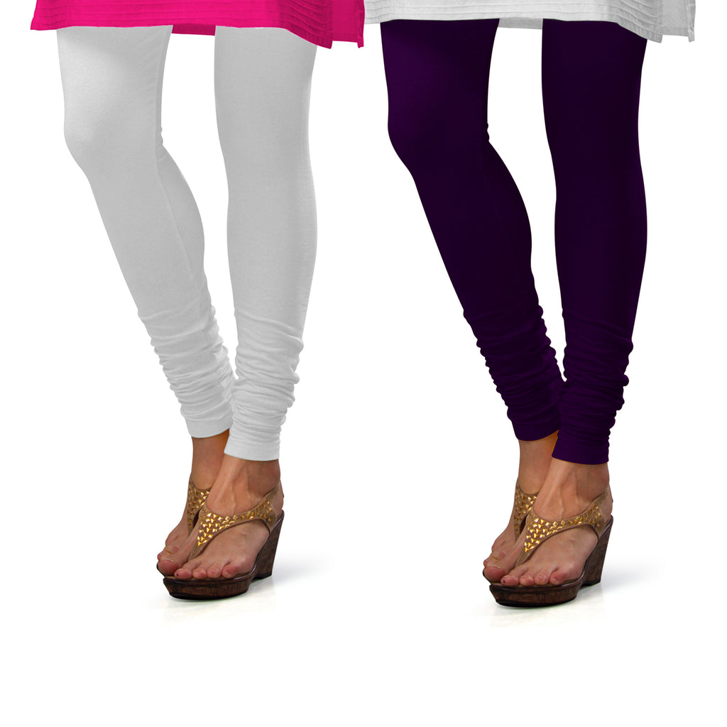 Sirtex Eazy Cotton Lycra Churidar Leggings (Pack of 2) : White & M Purple