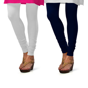 Sirtex Eazy Cotton Lycra Churidar Leggings (Pack of 2) : White & Navy Blue