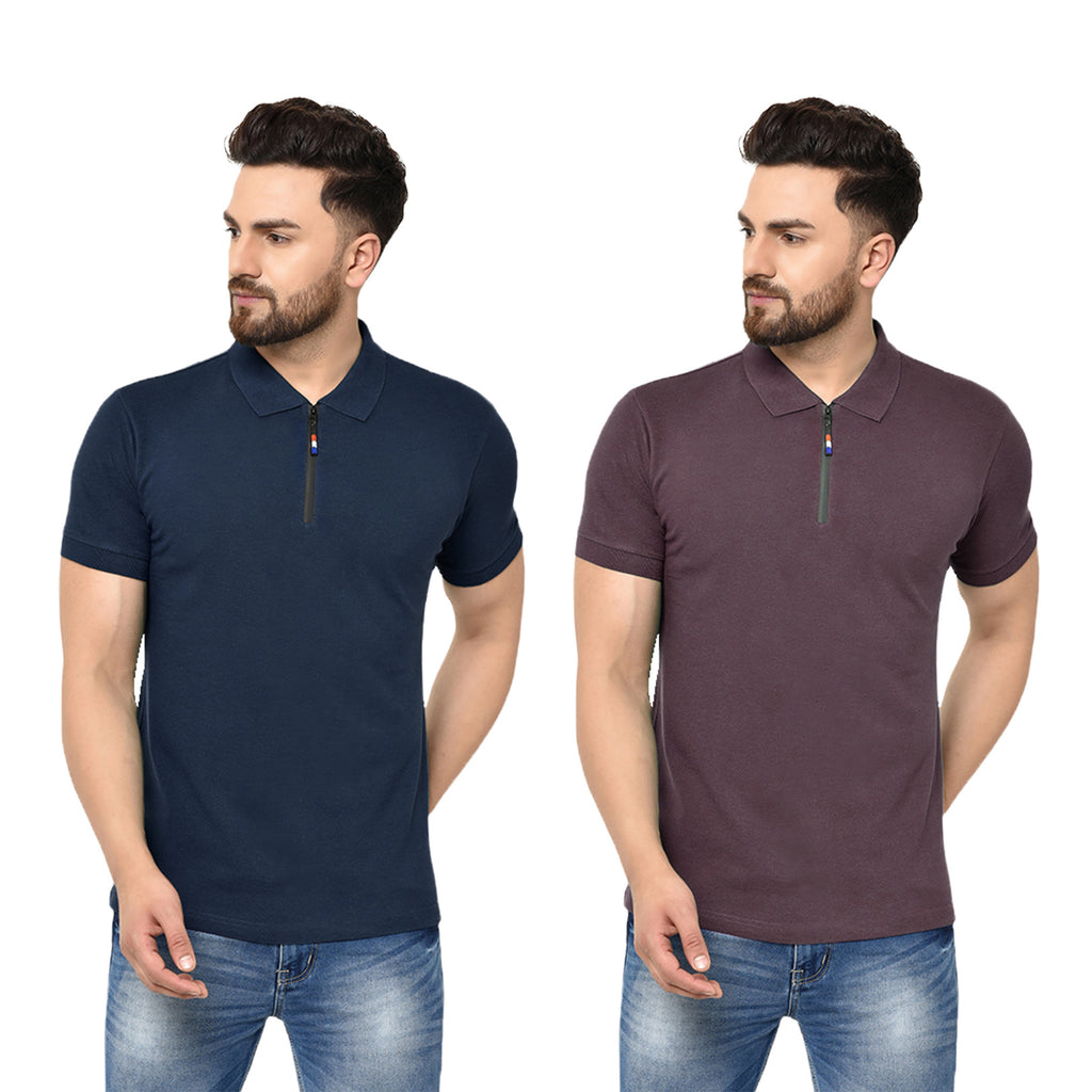Eazy Men's Zipper Polo T-shirt ( Pack of 2) - Young Navy & Grindle Maroon