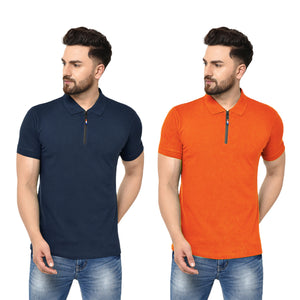 Eazy Men's Zipper Polo T-shirt ( Pack of 2) - Young Navy & Papaya Orange