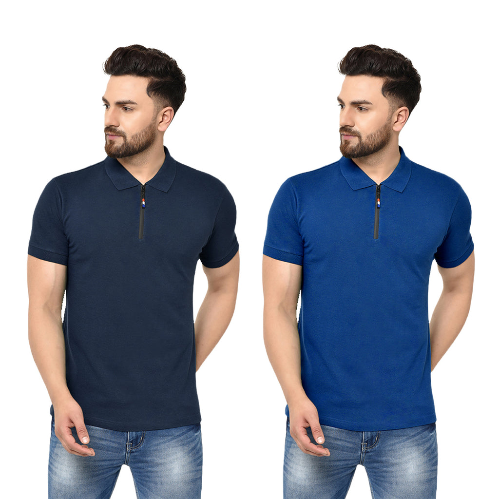 Eazy Men's Zipper Polo T-shirt ( Pack of 2) - Young Navy & Royal Blue