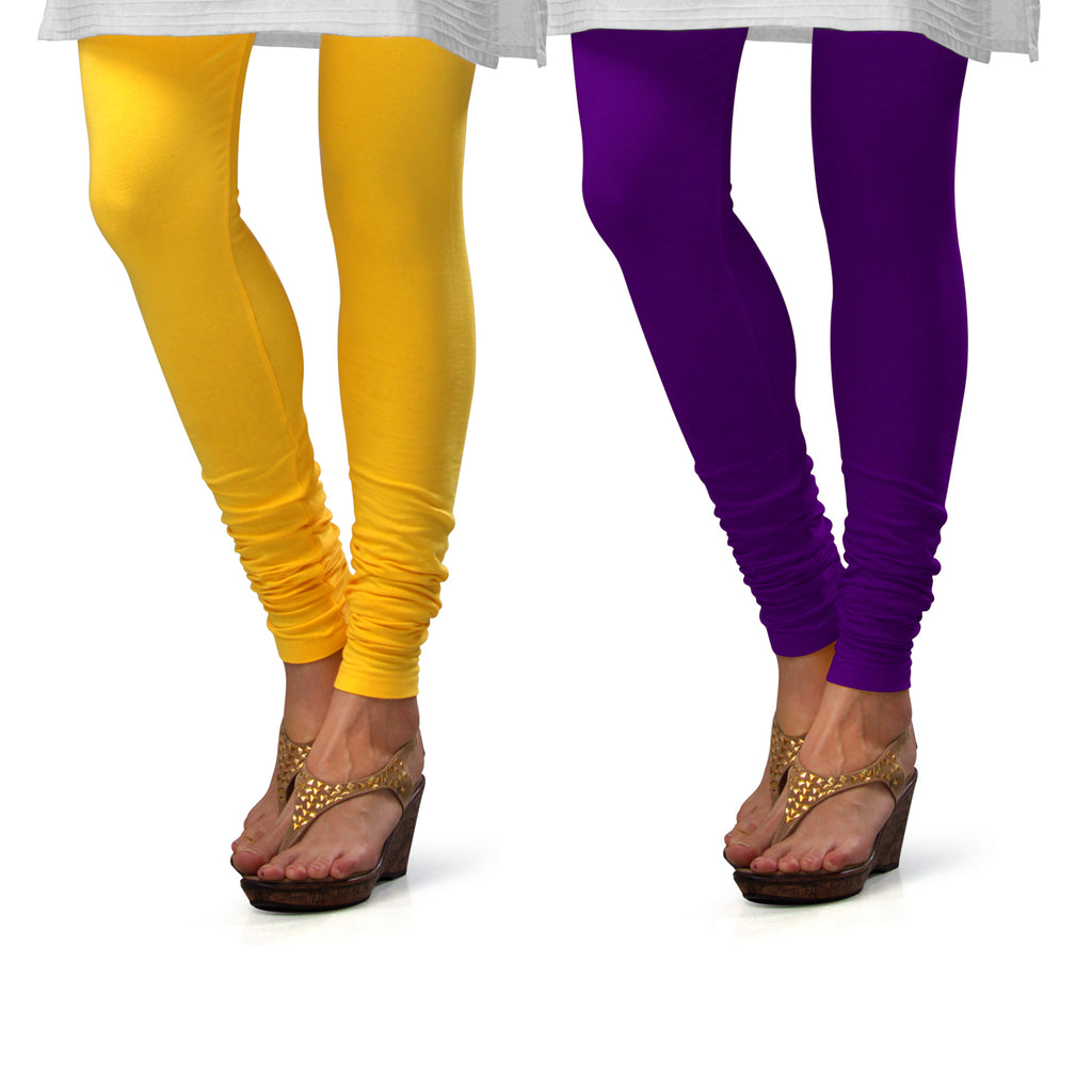 Sirtex Eazy Cotton Lycra Churidar Leggings (Pack of 2) : Yellow & Brinjal