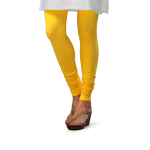 Sirtex Eazy Yellow Cotton Lycra Churidar Leggings