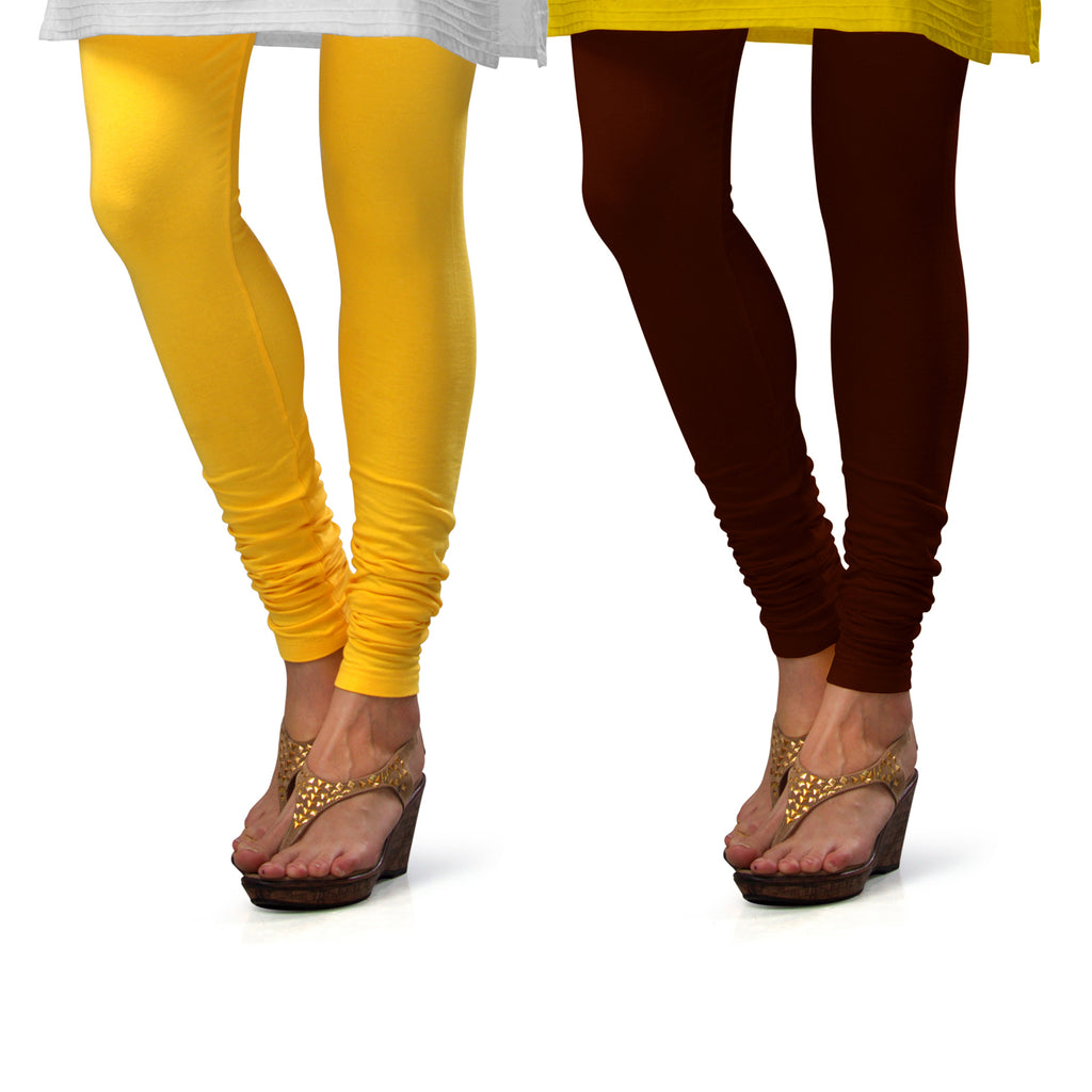 Sirtex Eazy Cotton Lycra Churidar Leggings (Pack of 2) : Yellow & M Brown