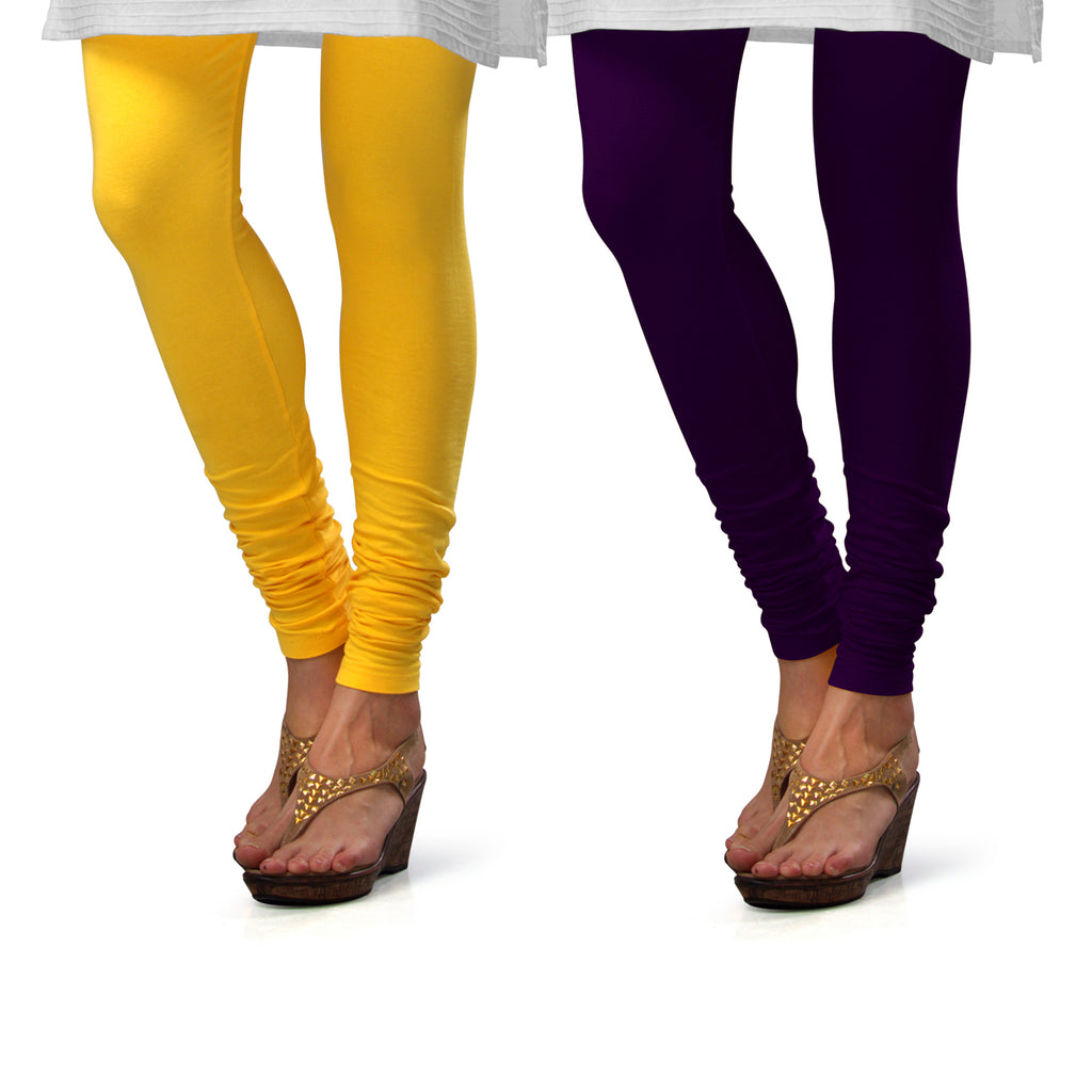 Sirtex Eazy Cotton Lycra Churidar Leggings (Pack of 2) : Yellow & M Purple