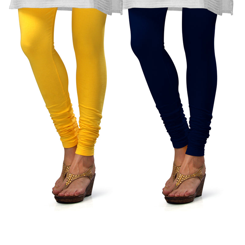 Sirtex Eazy Cotton Lycra Churidar Leggings (Pack of 2) : Yellow & Navy Blue