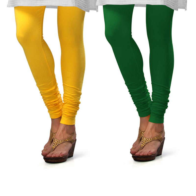 Sirtex Eazy Cotton Lycra Churidar Leggings (Pack of 2) : Yellow & Pak-Green