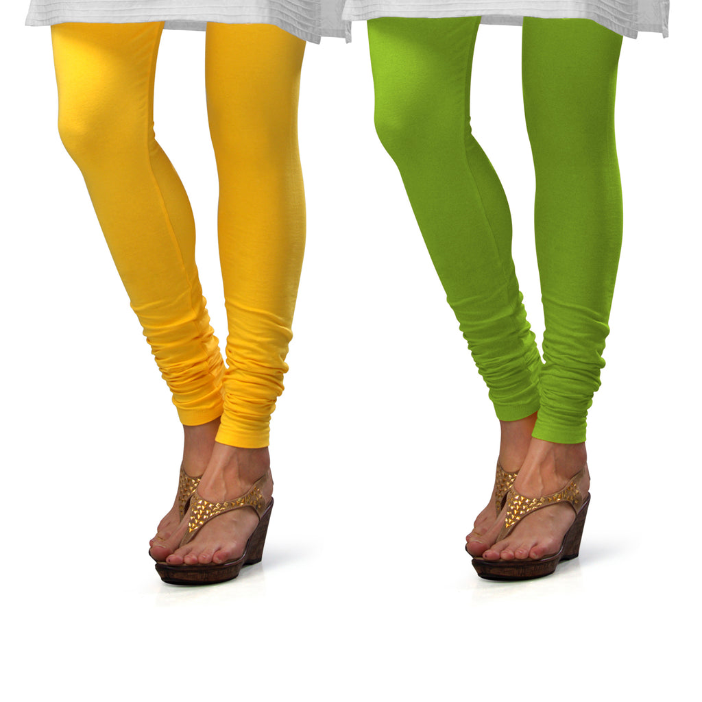 Sirtex Eazy Cotton Lycra Churidar Leggings (Pack of 2) : Yellow & Parrot Green
