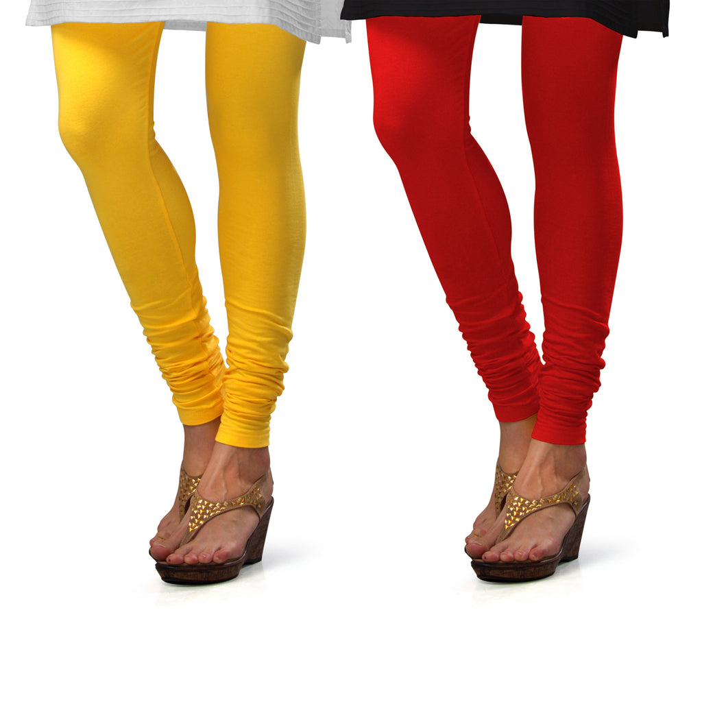 Sirtex Eazy Cotton Lycra Churidar Leggings (Pack of 2) : Yellow & Red