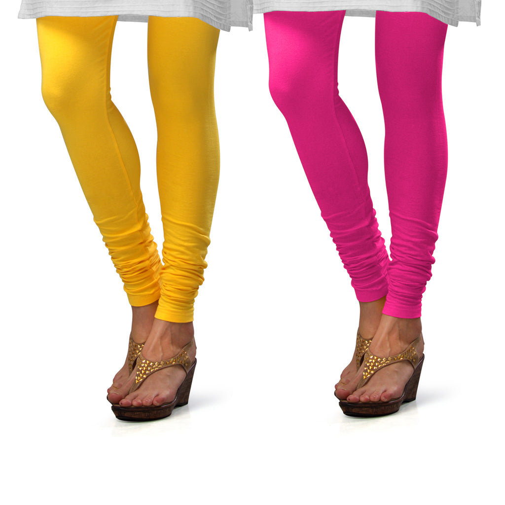 Sirtex Eazy Cotton Lycra Churidar Leggings (Pack of 2) : Yellow & Romantic Rani