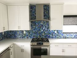 Afternoon Lake Tiffany Inspired Hand Cut Glass Tile Backsplash