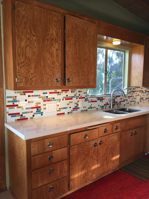 Atomic Disco Glass Tile Kitchen Backsplash