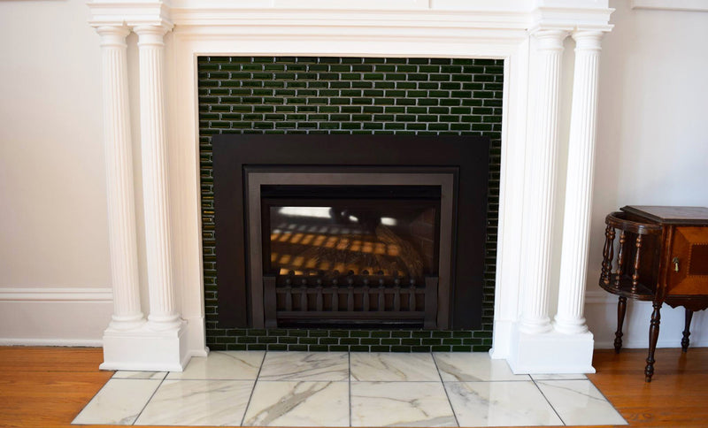 Transformation Tuesday | Fused Glass Tile Fireplace