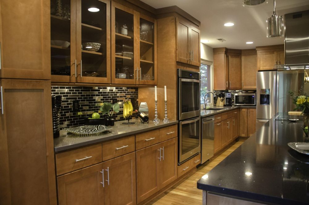Black Glass Tile and Stainless Steel Kitchen