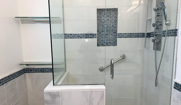 Blue Recycled Glass Tile Bathroom Accent