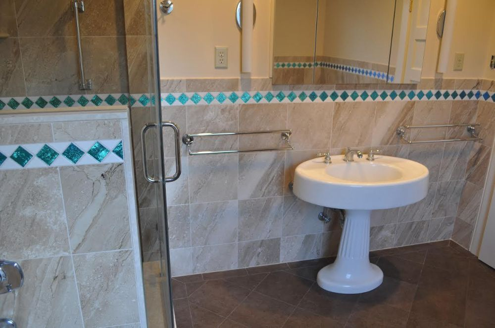 Blue Recycled Glass Tile Bathroom