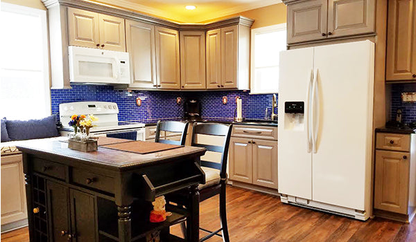 Cobalt Blue Subway Glass Tile Kitchen