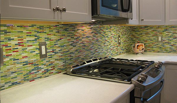 Colorful Subway Glass Tile Kitchen