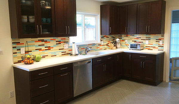 Custom Subway Glass Tile Kitchen