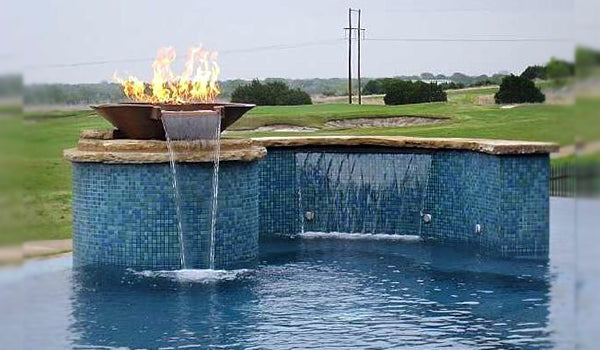Family Vacation Home Glass Tile Pool