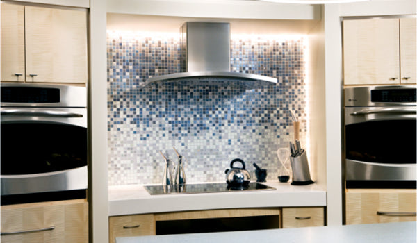 GE Gradient Glass Tile Kitchen Backsplash