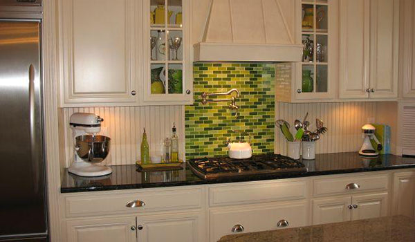 Lime Green and Floral Linear Glass Tile Kitchen Backsplash