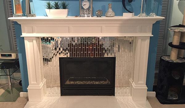 Mirror Glass Tile Fireplace