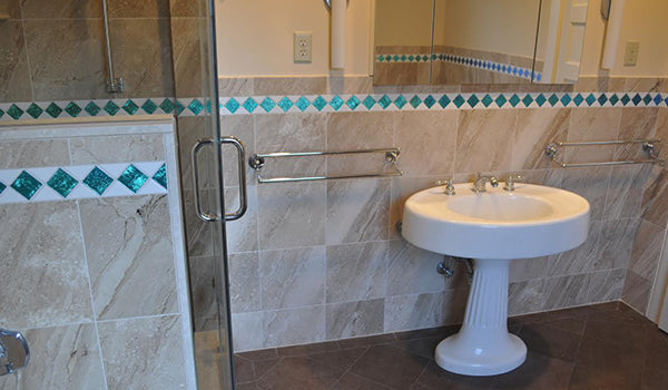New Jersey Residence: Cobalt Turquoise Dichroic Glass Tile Bathroom