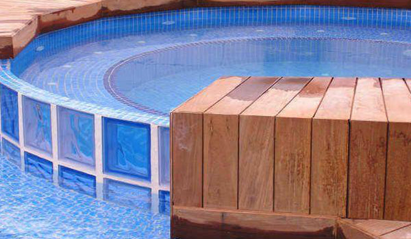 Recycled Glass Tile Pool and Spa