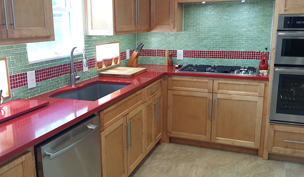 Red and Green Ocean Bottle Glass Tile Kitchen