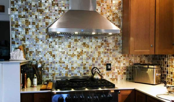 Silver, Gold, and Taupe Metallic Glass Tile Kitchen Backsplash