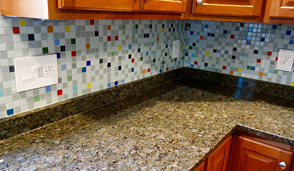South Beach Glass Tile Kitchen Backsplash