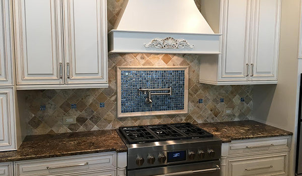 Textured Blue Recycled Glass Tile Accent
