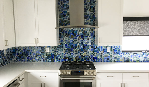 Tiffany Inspired Glass Tile Backsplash