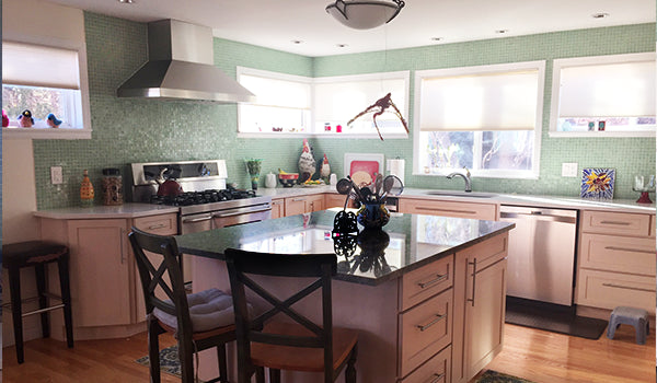 Virginia Residence: 1-Inch Transparent Sea Green Glass Tile