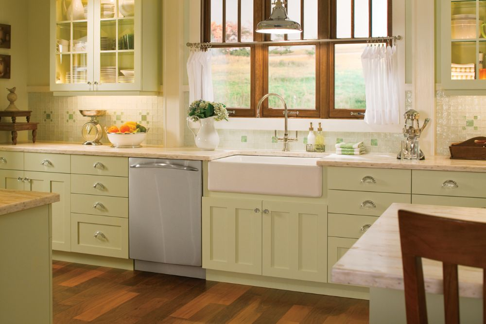 Farmhouse style kitchen with beautiful white tile with a splash of color