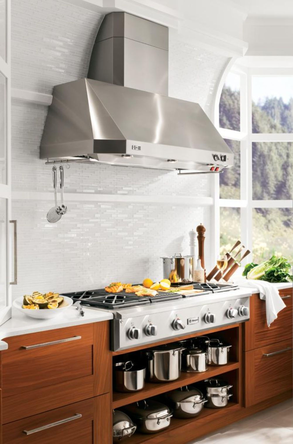 Bright and simple GE kitchen with elegant white mosaic tile